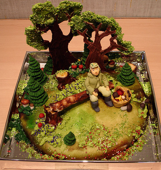 man in forest cake
