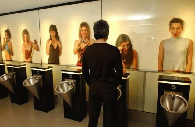 men's restroom mural