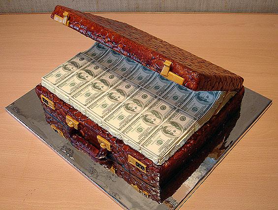 suitcase full of money cake