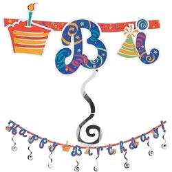 happy birthday glitter banner