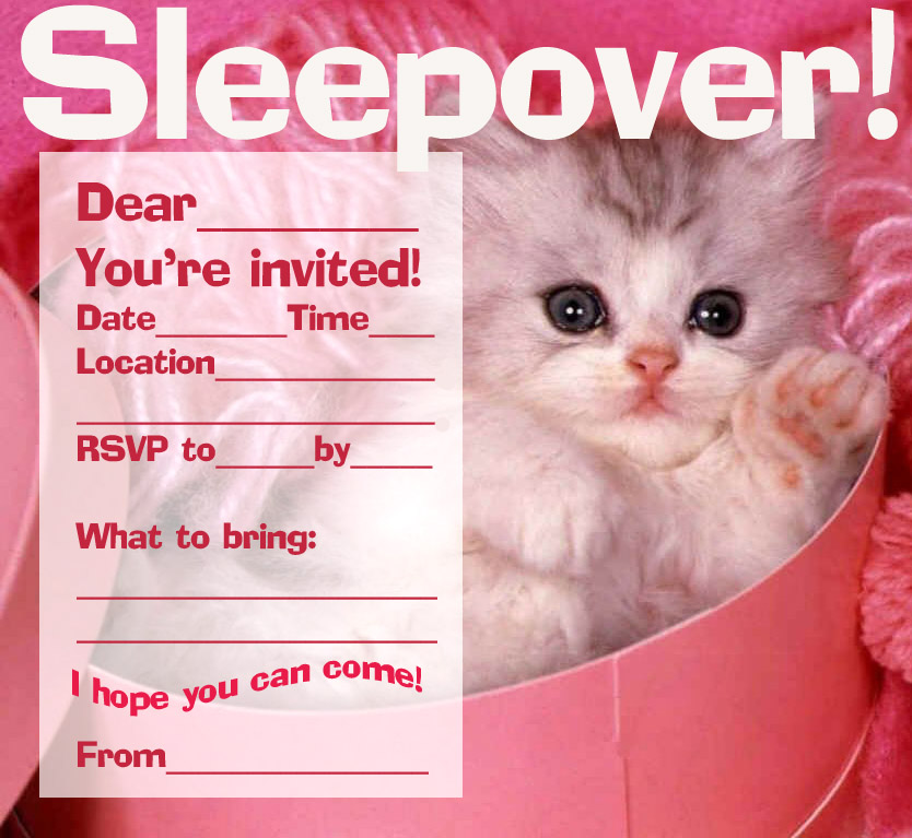 Girls Sleep Over Party Invitations